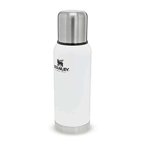 Stanley Adventure Series 18/8 Stainless Steel Wall Vacuum Insulation Water Bottle Leakproof + Packable Doubles As Cup Naturally Bpa-Free, Unisex-Adult, Blanco Polar, 25oz / 73L