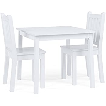Tot Tutors Kids Wood Table and 2 Chairs Set White (Daylight)  sc 1 st  Amazon.com : kids wooden table set - pezcame.com