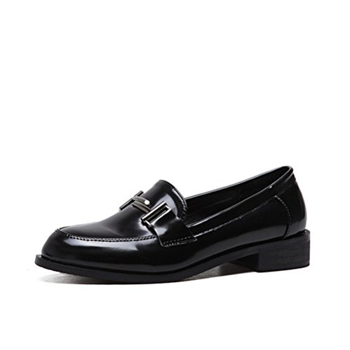 Classic Shoes On Fashion Low Black Women's Slip T Shoes Heel Oxfords JULY Casual PzOnETwqvx