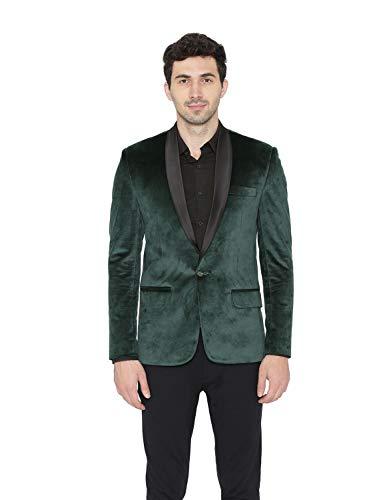 WINTAGE Men's Cotton Velvet Tuxedo Party Blazer : Green, -