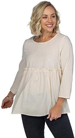 Roolee - Up for It Ruffle Babydoll, Neutral Tops for Women, Women's Babydoll Tops