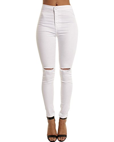 Mujer Vaqueros ZhuiKun Pantalones Rotos Pantalones Jeans Blanco Skinny Mezclilla Leggings 7HwCwvq