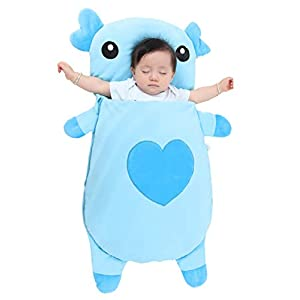 Baby's Sleeping Wrap Swaddle Outdoor Warm Stroller Bag Blanket for Winter Autumn for 1-3Y Kids, Blue Pig