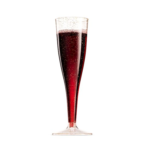 100 Pack Gold Glitter Plastic Champagne Flutes ~ 5 Oz Clear Plastic Toasting Glasses ~ Disposable Wedding Party Cocktail Cups by Munfix (Image #7)