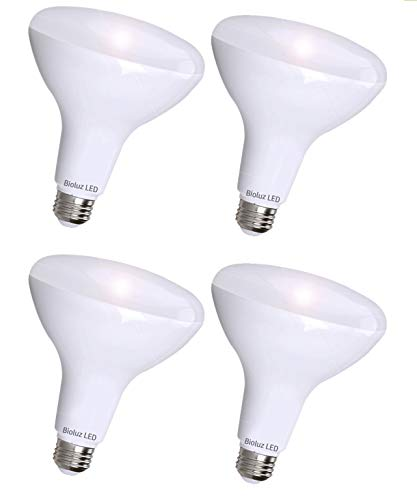 4 Pack Brightest BR40 LED Bulbs by Bioluz LED - Instant ON Warm LED Energy Saving Bulbs, 17w (120w Replacement) 2700k Bulb 1400 Lumen, Indoor/Outdoor Smooth Dimmable Lamp UL Listed