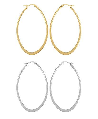 Edforce Women's Stainless Steel Long Oval Hoop Earrings Set of 2, (50mm) (Ring Oval Long)
