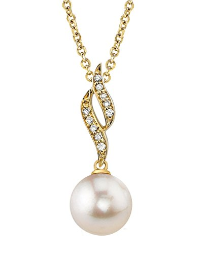 (THE PEARL SOURCE 14K Gold 8.5-9mm AAA Quality Round White Akoya Cultured Pearl & Diamond Suzanna Pendant Necklace for Women)