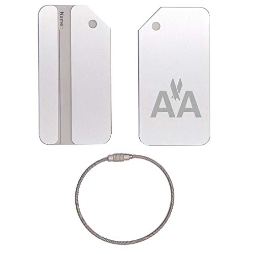 (AA American Airlines STAINLESS STEEL - ENGRAVED LUGGAGE TAG - SET OF 2 (METALLIC SILVER) - FOR ANY TYPE OF LUGGAGE, SUITCASES, GYM BAGS, BRIEFCASES, GOLF BAGS )