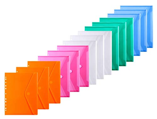 LaOficina 11 Holes Semi Poly Envelope Pocket Insert Pages for Binders, with Velcro Closure Assorted Colors, Letter Size 15 Packs