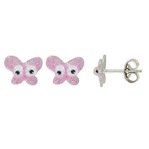 Suzette et Benjamin - Boucles d'Oreilles Papillon - Email rose paillette - Argent 925/1000 rhodié - Enfant