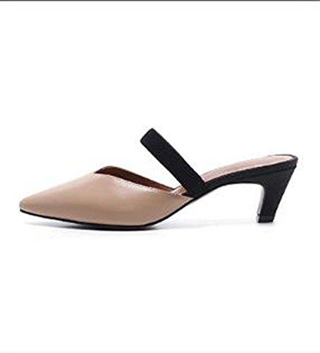 stile scarpe Calzature 5cm ad Moda pantofole tacco bare e il Donna 39 versatile Alla punta Sandali colore AJUNR Da colore incollare alta xgXaHwqz
