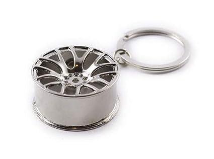 RKG coche moto motor turbo rueda Rim aleaciones Motor Partes llavero regalo, Silver Wheel Rim