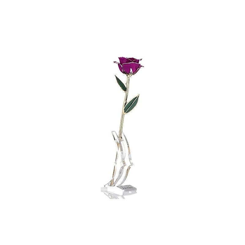 silk flower arrangements zjchao 24k purple rose for her, dipped gold rose eternity love real golden plated preserved eternal flower with rose stand present for wife/girlfriend/lady (purple)
