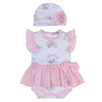 Fairy Baby Infant Baby Girls Outfit Set 2pcs Clothes Set Floral Romper Dress with Hat Size 3-6M (Pink)