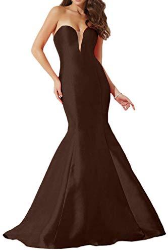 Herzausschnitt Abendkleider Einfach Meerjungfrau Braun Lang Promkleider mia La Partykleider Braut TAFT Rock qpaWIw