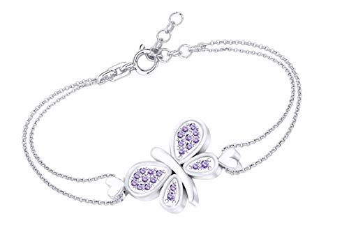 AFFY Round Shape Simulated Alexandrite Beautiful Butterfly Chain Bracelets in 14k White Gold Over Sterling Silver -8.5
