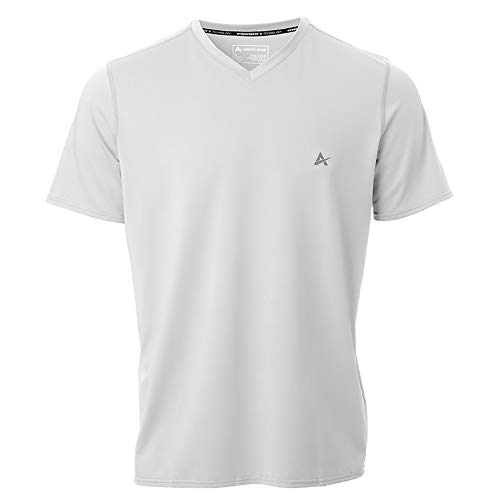 (Arctic Cool Men's V-Neck Instant Cooling Short Sleeve Shirt Performance Tech Breathable UPF 50+ Sun Protection Moisture Wicking Comfortable Athletic Quick Drying T-Shirt, Arctic White, XL)