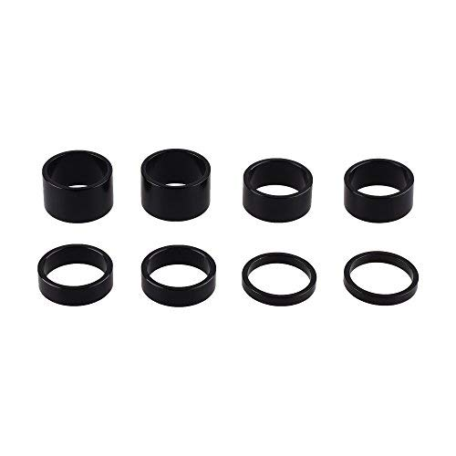 Bluecell Set of 8pcs 1-1/8inch Aluminum Alloy Bike Headset Spacer Stem Spacer for MTB Bike Road Bikes, 5mm, 10mm, 15mm, 20mm (Black)