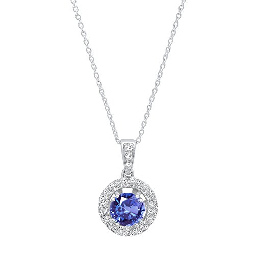 Dazzlingrock Collection 14K 6 MM Round Cut Tanzanite & White Diamond Ladies Double Halo Pendant, White Gold