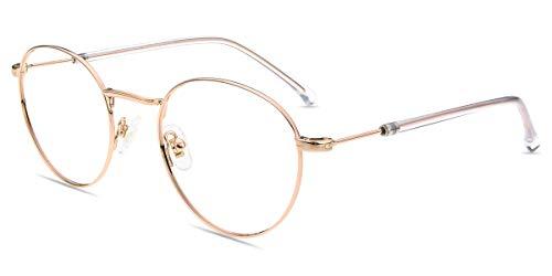 Firmoo Blue Light Filtering Glasses Retro Round Lightweight Anti Headache Computer Eyewear Metal Frame for Women/Men(Rose Gold ()