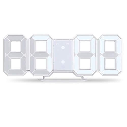 Mucjun Reloj de Pared 3D Led Despertador Digital Moderno Reloj de Pared de Noche de Escritorio Mesa de Oficina Cocin Casa Visualizacion de 24 o 12 Horas (Blanco)