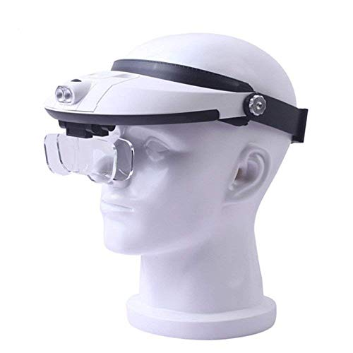 (ATR 3.5X Head Mounted Illumination Magnifier with LED Light HD Lens Jewelry Identification Watch DIY Craft Engraving and Restoration 250 180mm White? ABS Magnifying Glass)