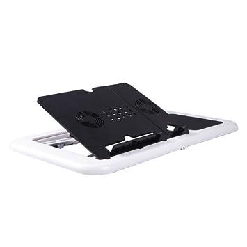 Portable ajustable Kingzer laptronix mesa plegable con 2 ventiladores + cojín de ratón: Amazon.es: Oficina y papelería