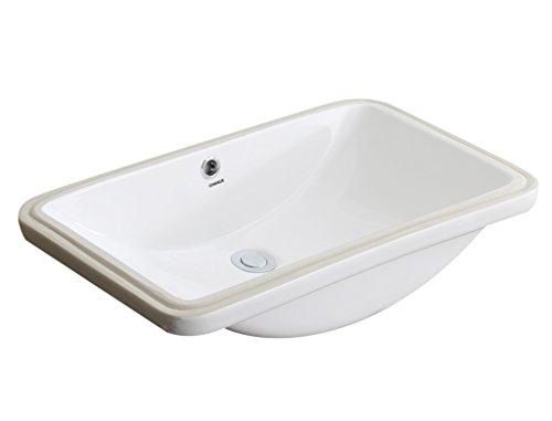 CHANGIE 1610W Rectangular Lavatory Undercounter Bathroom Ceramic Sink,White,23x15 inches ()