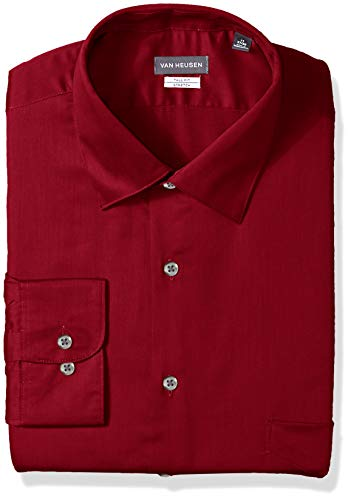 (Van Heusen Men's Size Big Lux Sateen Stretch Solid Tall Fit, red, 20