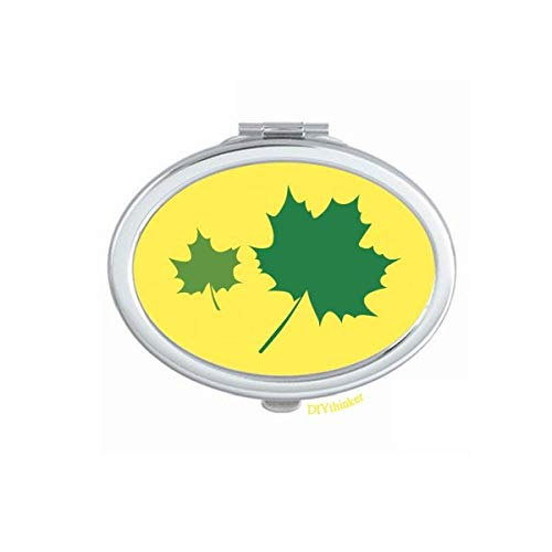 Grenn Maple Leaves Vectorgraph Mirror Oval Portable Hand Pocket Makeup - Maple Oval Mirror