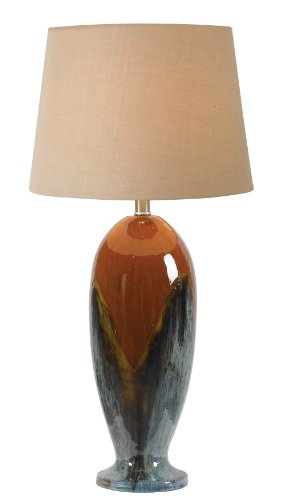 Kenroy Home 32147CG Lavo Table Lamp, 30 Inch Height, 16 Inch Diameter, Red and Blue Ceramic Glaze
