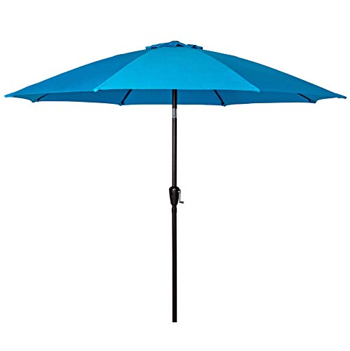 Sundale Outdoor 9 Feet Aluminum Market Umbrella Table Umbrella with Crank and Push Button Tilt for Patio, Garden, Deck, Backyard, Pool, 8 Fiberglass Ribs, 100% Polyester Canopy (Turquoise)