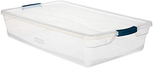 Rubbermaid Cleverstore 41 QT Pack of 4 Stackable Plastic Containers with Durable Latching Clear Lids, Visible…