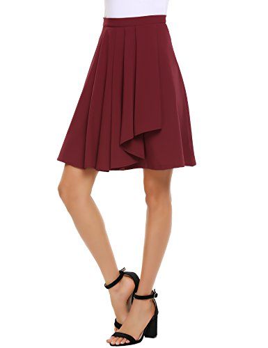 SHINE Women's High Waist A-Line Pleated Skirt Knee Length Flared Skirt,Wine Red,Medium