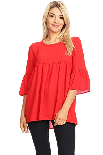 Casual bell sleeve Tunic Top,Solid and Floral Print/Made in USA Red 3XL (Tops Plus Sleeve Flutter)