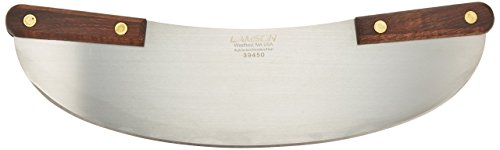 "Lamson Pizza Rocker Knife, 13"", Stainless Steel with Riveted Walnut Handle"