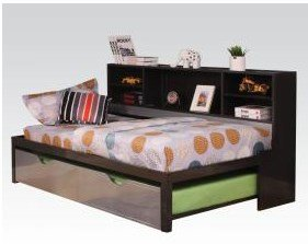 ACME Furniture 37225T Renell Twin Bed with Bookcase & Trundle, Black & Silver