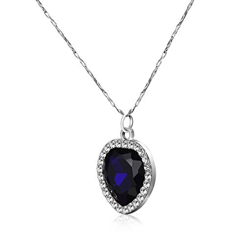 Titanic Heart of the Ocean, Blue Crystal Pendant with Pure Silver Necklace in A Classical Wooden Box Set  (Diamond Ocean Blue)