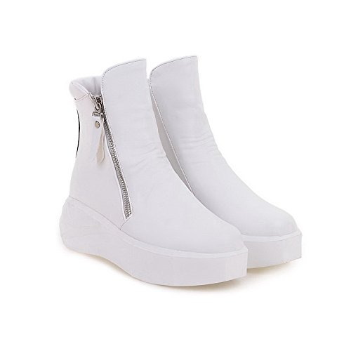 Toe AgooLar Closed White Low Women's Boots Solid Heels Soft Kitten top Round Material ROqtwOU