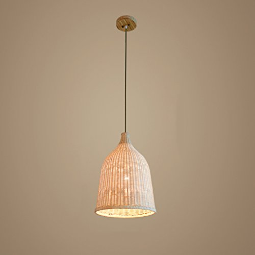 Baycher 29 cm Modern Simple Country Craft Bamboo Pendant Lamp Grass Rattan Willow Wooden Ceiling Lights Chandelier with Bowl Lampshade,Adjustable Lighting - Pendant Bamboo Lights