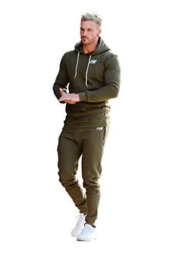 Homme Top Bas Avec Et Slim Fit Pour Kaki vert WearEnsemble Capuche De Survêtement Aspire Fitness Joggeurs GymnastiqueSport 54A3RLj