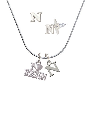 I 'Heart' Boston - N Initial Charm Necklace and Stud Earrings Jewelry (Boston Monogram)
