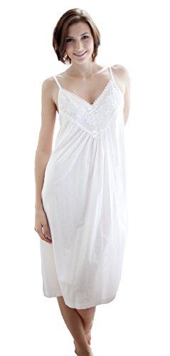 Strappy Cottonreal Prato XS 100 Nightdress XXL cotone 'Helga' Bianco wXOAgq