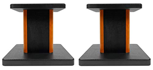 2 Rockville RHT8C Computer/Bookshelf Desktop Speaker/Studio Monitor Stands-Wood (Studio Monitor Stand)