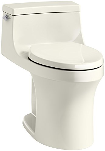 KOHLER K-5172-96 San Souci Comfort Height Compact Elongated 1.28 GPF Toilet with AquaPiston Flushing Technology and Left-Hand Trip Lever, Biscuit, (Toilet Bowl Biscuit)