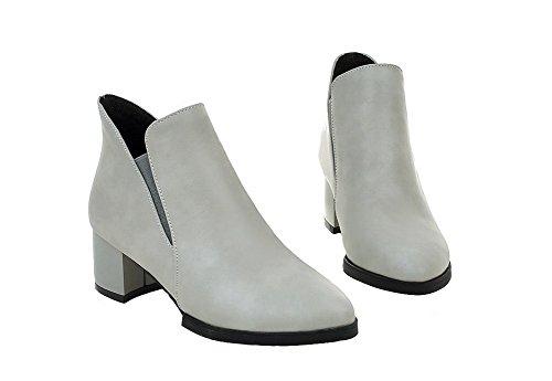 Talon Couleur Pu Unie Shoes Tire Correct Ageemi Gris À Cuir Femme Pointu Bottes ExC4FqXXw8