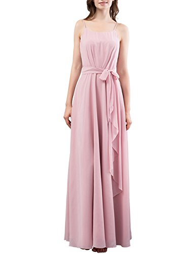 DRESSTELLS Long Bridesmaid Dress Spaghetti Straps Ruffle Evening Party Gowns With Belt Blush Size 16