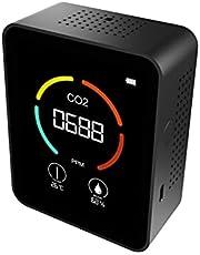 Luchtkwaliteit Monitor Kooldioxide Detector Digitale Thermometer Hygrometer Draagbare Lichtgewicht Kamer Luchttester Met Clear Color Screen Display USB Oplaadbaar Voor Indoor Outdoor Tuin, Kantoren, Gym