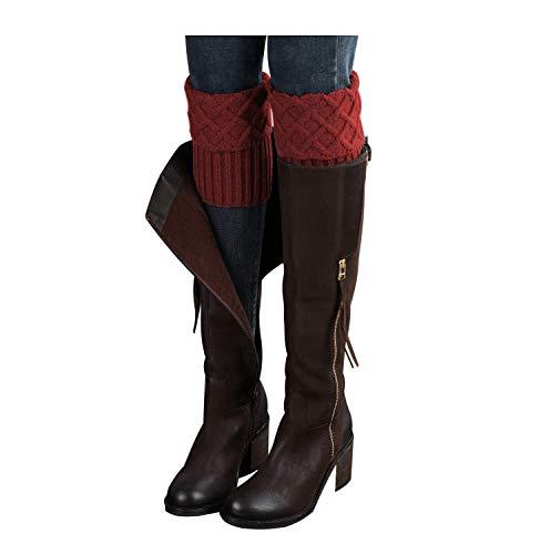 Bestjybt Womens Short Boots Socks Crochet Knitted Boot Cuffs Leg Warmers Socks (Red) ()