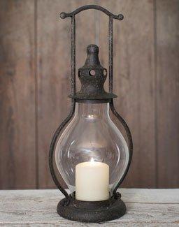 Primitive Rustic Brown Tin Steeple Candle Lantern
